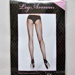 Leg Avenue Black Fishnet Nylon Backseam Stockings